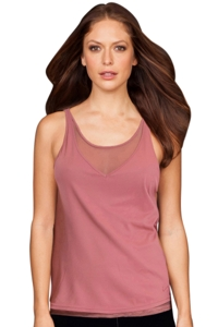 TLF Apparel Prima Canyon V Neck Mesh Underlay Tank Top