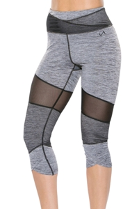 TLF Apparel Muse Graphite Heather Mesh Panel Brigitte Capri