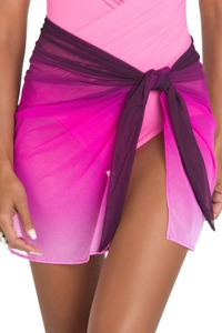 Miraclesuit Pink Dip Dye Tie Side Sarong Cover Up