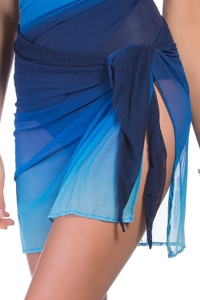 Miraclesuit Blue Dip Dye Tie Side Sarong Cover Up