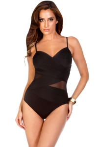 Miraclesuit Solid Black DD-Cup Mystify Mesh Inset Underwire One Piece Swimsuit