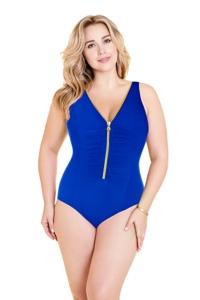 Miraclesuit Blue Plus Size Blitz Zip Front One Piece Swimsuit