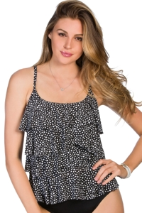 Miraclesuit Mini Dot Plus Size Tiering Up Tankini Top
