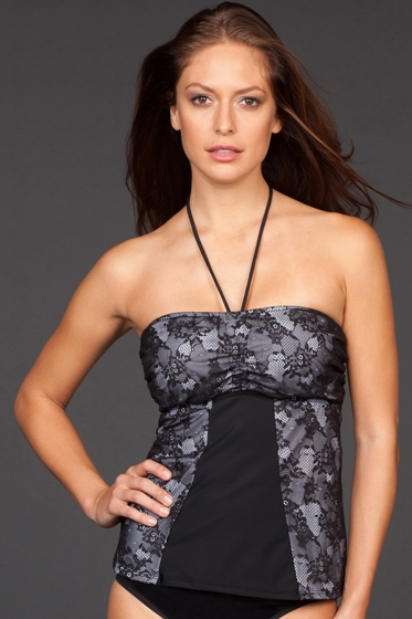 Magicsuit Mesh and Lace Maddie Tankini Top
