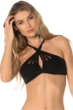 Becca by Rebecca Virtue Sunburst Crochet Cross Over High Neck Bikini Top