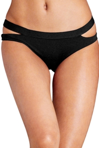 Seafolly Solid Black Cut Out Hipster Bikini Bottom