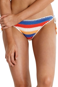 Seafolly Caribbean Kool Crochet Side Tie Brazilian Bikini Bottom