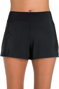 Penbrooke Solid Black Loose Short Swim Bottom