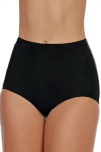 Shape Solutions Black Plus Size Girl Leg Brief Swim Bottom