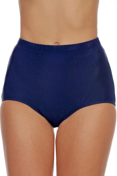 Shape Solutions Navy Plus Size Girl Leg Brief Swim Bottom