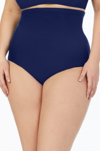 Penbrook Solid Navy Plus Size Ultra High Waist Brief Swim Bottom