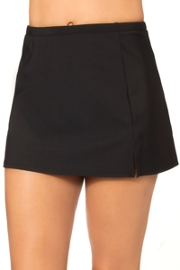 Penbrooke Solid Black Side Slit Swim Skirt