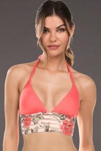 Isabella Rose Printed Illusion Long Line Halter Bikini Top