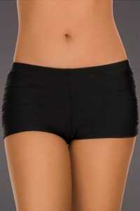 Eco Swim Black Side Shirred Boy Short Swim Bottom