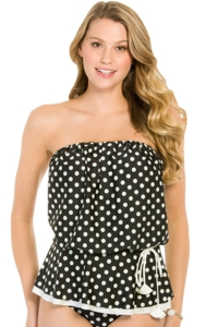 Eco Swim Pearl Dot Gathered Blouson Bandeau Tankini Top