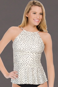 Eco Swim Cream Speckled Dot Gathered High Neck Tankini Top