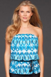 Eco Swim Blue Mist Gathered Blouson Bandeau Tankini Top