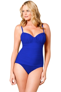 Miraclesuit Blue Plus Solid Rialto One Piece Swimsuit
