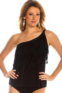 Magicsuit Black Tina Asymmetrical Tankini Top