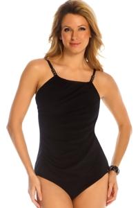 Magicsuit Black Solid Shirred Raven Tankini Top
