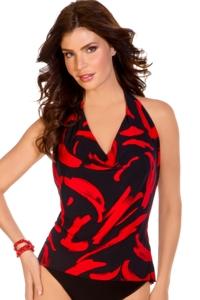 Magicsuit Black and Red Stroke of Genius Sophie Tankini Top