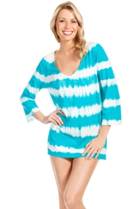 Eco Swim Surf Tie Dye Stripe 3/4 Sleeve Tunic