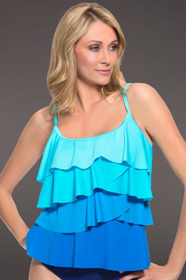 Miraclesuit Blue Color Mix Tiering Up Tankini Top