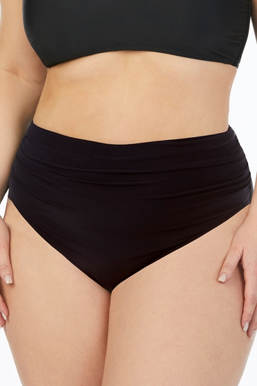 Magicsuit Black Plus Size Shirred Brief Swim Bottom