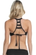 Becca by Rebecca Virtue Prairie Rose Black D-Cup Ladder Back Bralette Bikini Top