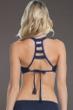 Becca by Rebecca Virtue Prairie Rose Navy E-Cup (DD-Cup) Ladder Back Bralette Bikini Top