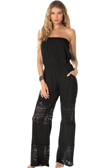 Becca by Rebecca Virtue Prairie Rose Black Strapless Jumpsuit