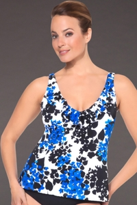 Shape Solutions Blue Carmen Ruffle Neck Tankini Top