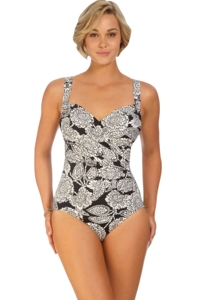 Shape Solutions Lady Lace Surplice One Piece Swimsuit