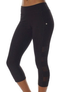 X by Gottex Black Mesh Sides High Waisted Captain Capri Legging with Pocket