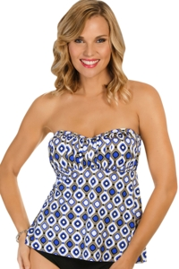 Penbrooke Jewels Shirred Bandeau Underwire Tankini Top