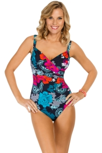 Penbrooke Eastern Exotic Shirred Surplice One Piece Swimsuit