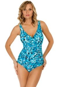 Penbrooke Jungle Jewels Twist Shirred One Piece Swimsuit