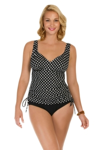 Penbrooke Neutral Spot Adjustable Side Tie Fauxkini One Piece Swimsuit