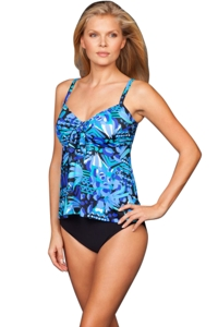 Penbrooke Caribbean Play Bow Front Flared Tankini Top