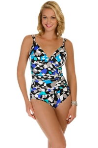 Penbrooke Color Angles Shirred Double Strap One Piece Swimsuit