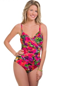 Penbrooke Plus Size Style Sense Criss Cross One Piece Swimsuit