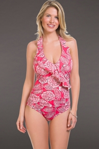 Penbrooke Lady Lace V-Neck Ruffle One Piece Swimsuit