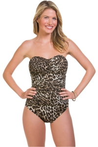Penbrooke Catwalk Shirred Bandeau One Piece Swimsuit