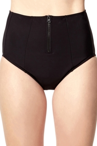 PB Sport Solid Black High Waist Tankini Bottom