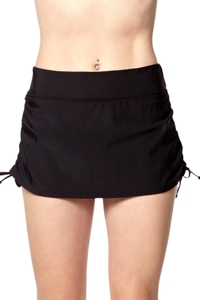 PB Sport Solid Black Adjustable Skirt Tankini Bottom