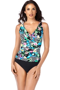 Shape Solver Graphic Content V-Neck Shirred One Piece Swimsuit