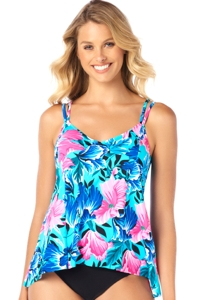 Shape Solver Petal Show Princess Seam High Low Tankini Top