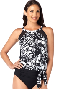Shape Solver Bold Moves Mesh High Neck Blouson Tankini Top