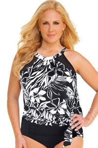 Shape Solver Bold Moves Plus Size Mesh High Neck Blouson Tankini Top