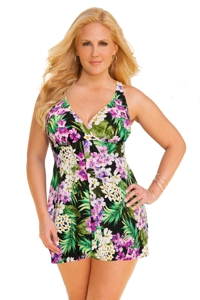 Shape Solver Island Dreams Plus Size Fly Away Swimdress